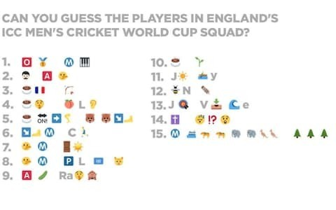 England's World Cup cricket team announced in the form of emojis to win younger fans