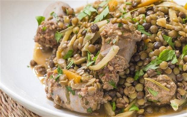 Speedy weeknight suppers: sausages with fennel and lentils