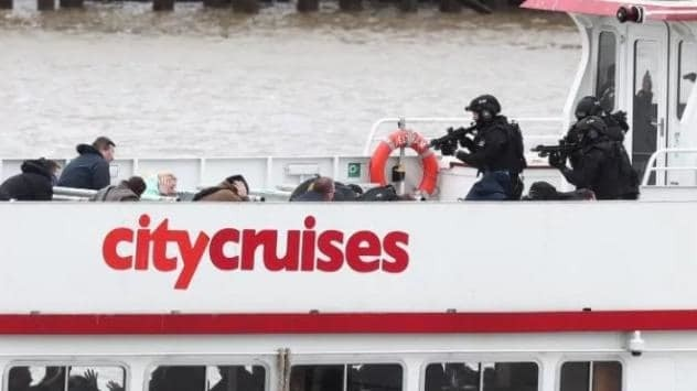 Armed anti-terror police in terrifyingly realistic Thames pleasure boat drill