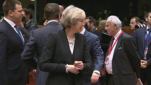 Theresa May given cold shoulder at Brussels EU summit in 'awkward' video