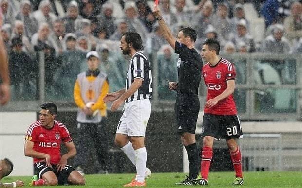 Juventus 0 Benfica 0 (agg 1-2): Mark Clattenburg sees red in Europa League semi-final