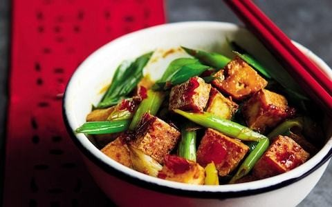 Crispy tofu with spring onions recipe