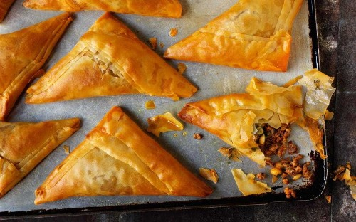 Rick Stein's spiced lamb filo pastries with pine nuts