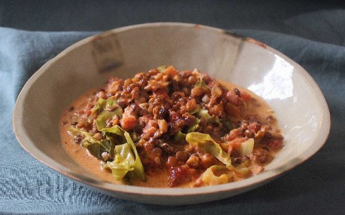 Tonight's dinner: lentil, cabbage and bacon gratin