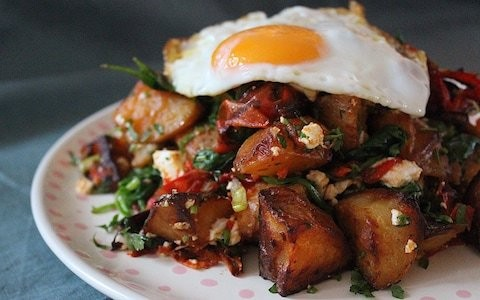 Tonight's dinner: smoky potatoes with feta and eggs