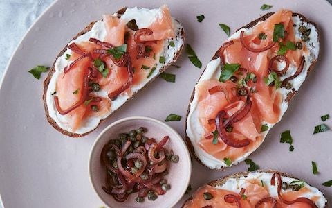 Smoked fish tartine with charred caper and red onion relish recipe