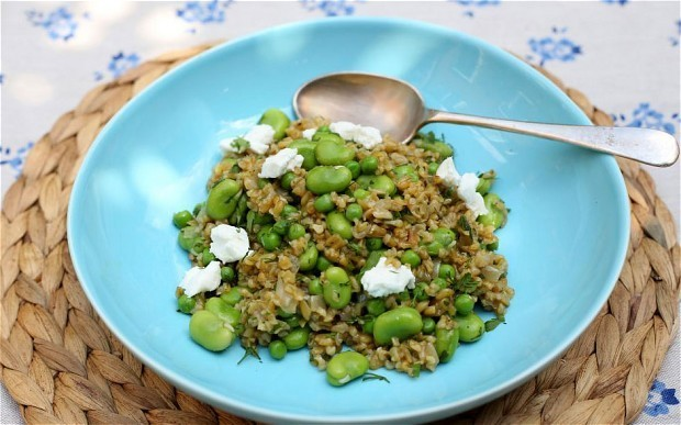 Speedy weeknight suppers: broad bean and freekeh risotto