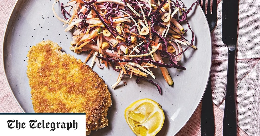 Breaded pork escalopes with cabbage, apple and fennel slaw recipe