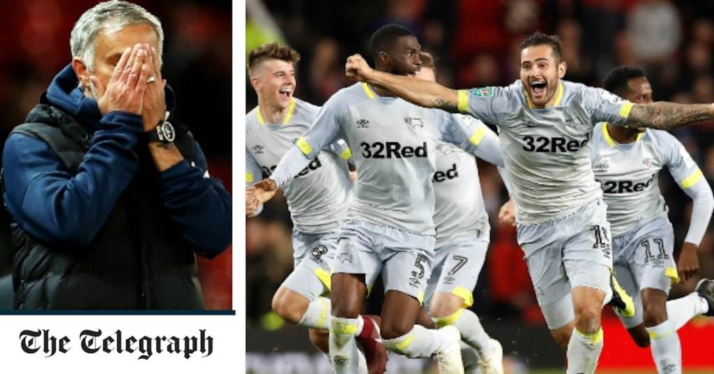 Jose Mourinho left stunned as Derby send Man Utd crashing out of Carabao Cup on penalties