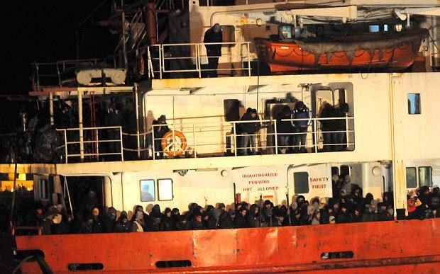Uncrewed ship with 450 migrants aboard heading for Italian coast