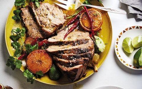 Slow-roasted pork shoulder with garlic, citrus and coriander recipe