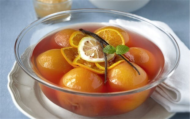 Peaches poached in white wine, citrus and herbs recipe