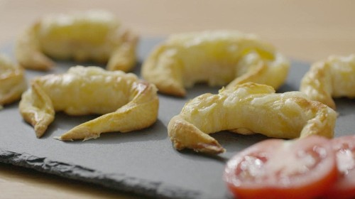 Xanthe Clay's mini cheese and ham croissant canapés