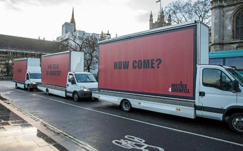 Grenfell campaigners hold Three Billboards-inspired protest