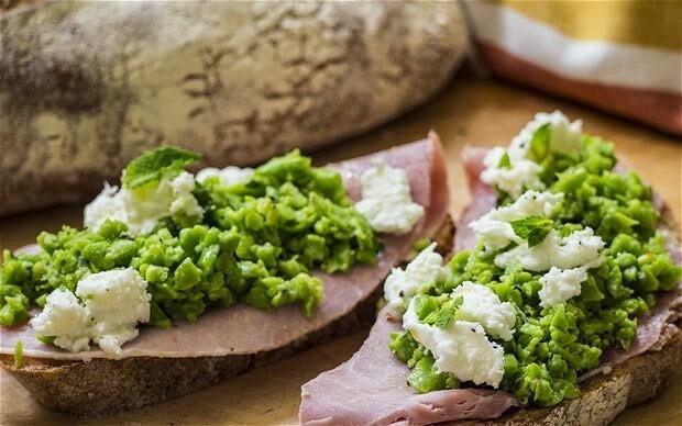 Speedy weeknight suppers: broad bean, ham and mozzarella tartine