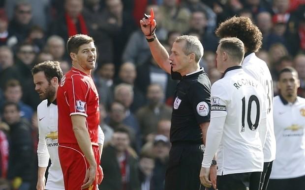 Liverpool 1 Manchester United 2, match report: Steven Gerrard sent off as Juan Mata scores two
