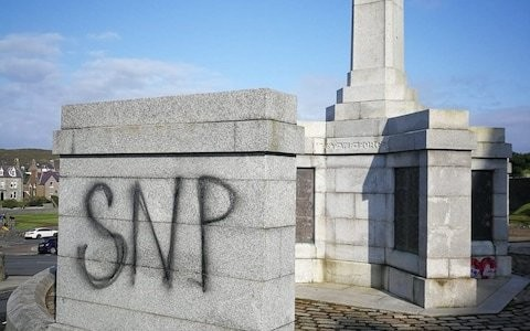 Vandals spray SNP on Shetland war memorial after Nicola Sturgeon's third by-election campaign visit