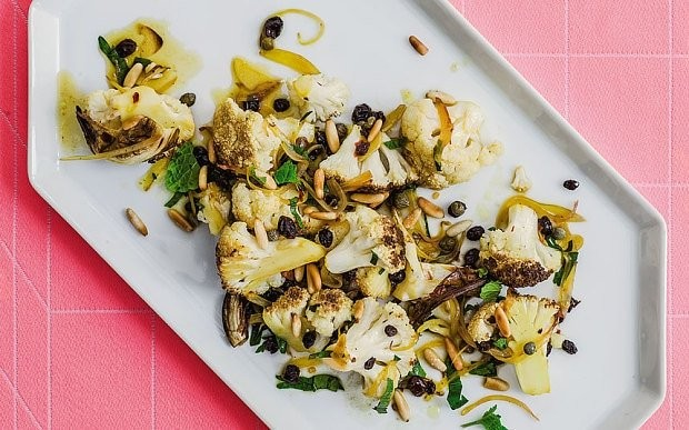 Roast cauliflower recipe with currants, capers and nuts