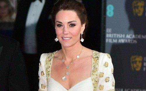 The Duchess of Cambridge wears Van Cleef & Arpels Alhambra jewellery worth over £13,000 to the Baftas
