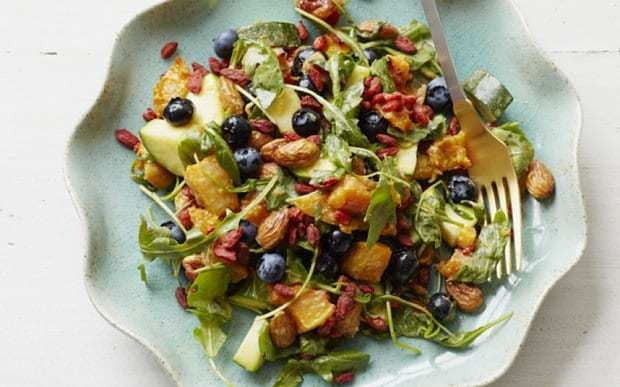 Roasted almond and blueberry salad