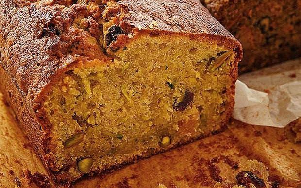 Honey & Co book: Courgette, golden raisin and pistachio cake