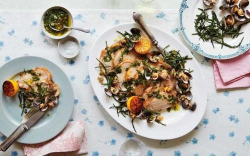 Pork with samphire, cockles and parsley vinaigrette