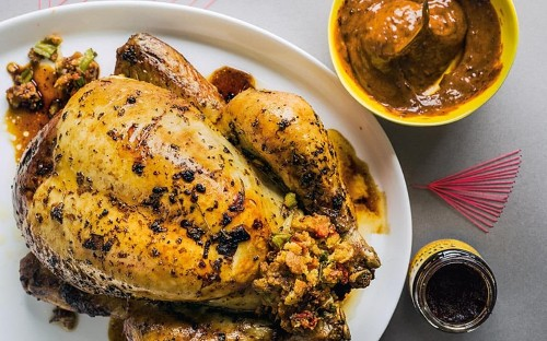 Oregano-roast chicken with roast pepper and sourdough stuffing, and smoky aioli