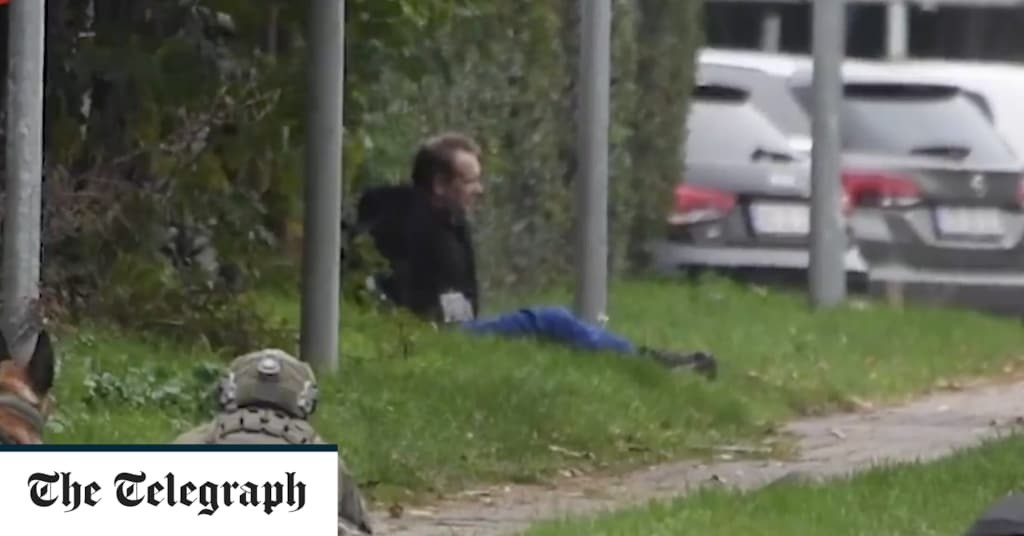 Submarine murderer Peter Madsen surrounded by armed officers after escaping Danish prison