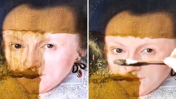 Incredible restoration removes 200 years of grime from oil painting in seconds
