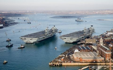 HMS Queen Elizabeth returns to Portsmouth - to be welcomed home by her sister ship for the first time