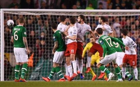 Conor Hourihane's perfect free-kick secures Ireland much-needed win against Georgia