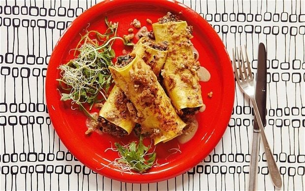 The new vegetarian: Mushroom cannelloni with creamy walnut sauce