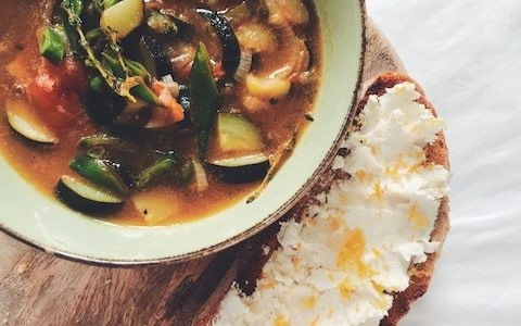 Tonight's dinner: Spring vegetable stew with lemon and goats cheese toasts