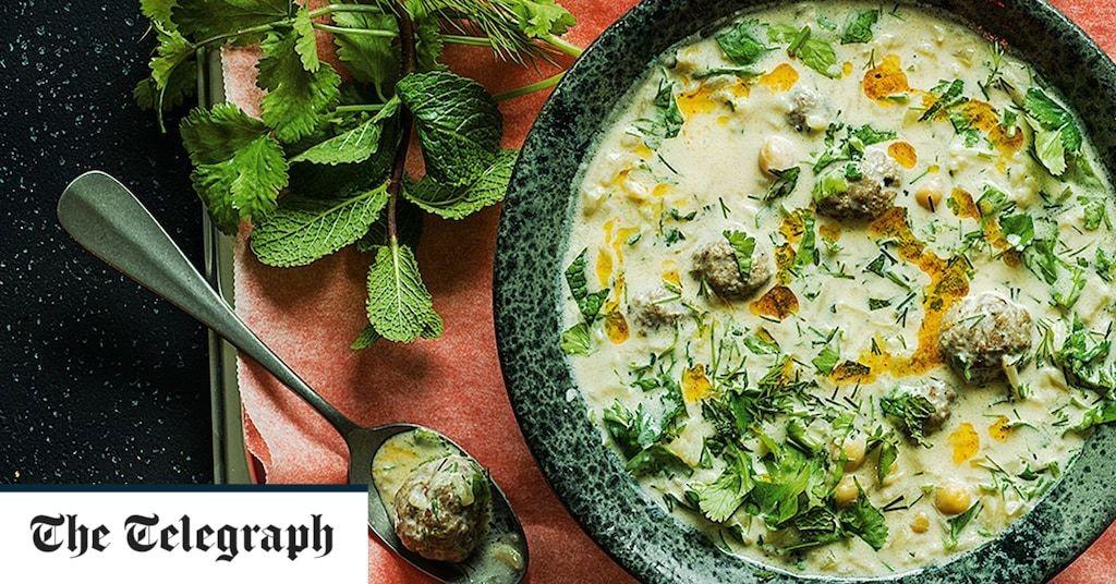 Yogurt soup with spiced lamb meatballs recipe