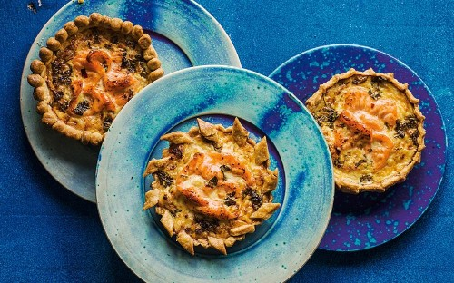 Salmon and crab tart with Thai flavours