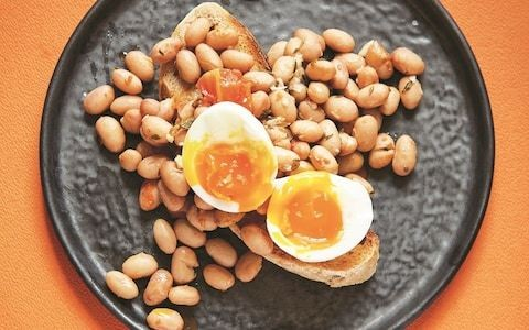 Borlotti beans on toast with soft-boiled eggs recipe