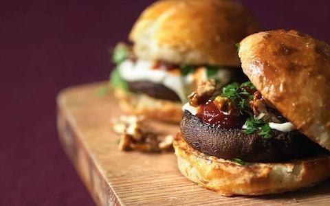 Field mushroom burgers with homemade brioche buns, sour cream and tomato relish recipe