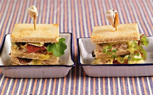 Crab club sandwiches with dulse mayonnaise recipe