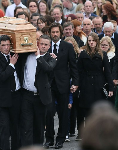 Jim Carrey leads mourners at funeral of his ex-girlfriend Cathriona White
