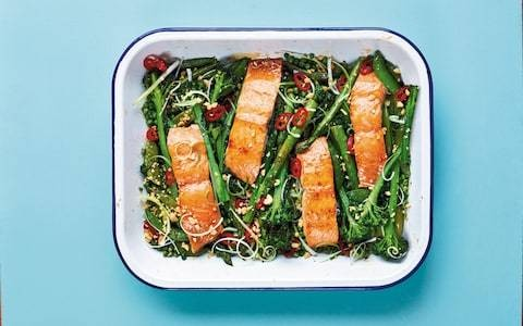 Sticky soy and honey roasted salmon and vegetables recipe
