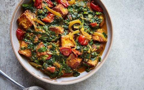 Saag halloumi (spiced spinach with halloumi) recipe