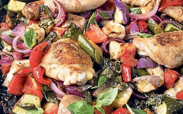 Chicken roasted with cucumber and late-summer veg recipe