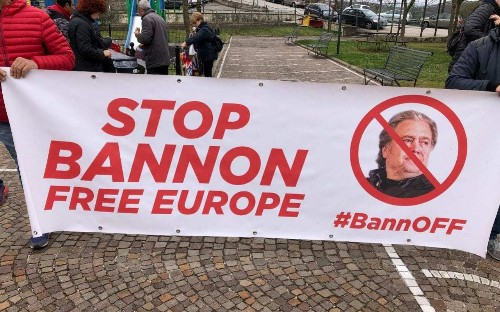 Protesters march on Italian monastery where Steve Bannon plans to train nationalist leaders