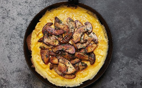 Sally Clarke's open cep omelette with thyme and créme fraîche