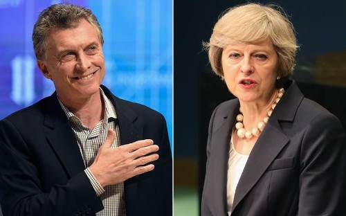 Argentine president mentions Falklands in brief chat with Theresa May