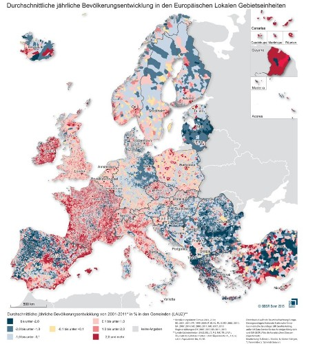 An Incredibly Detailed Map of Europe's Population Shifts