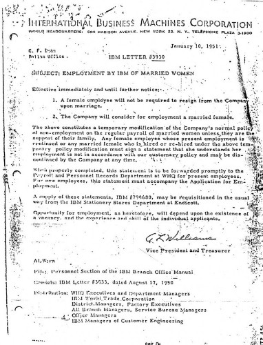 The Internal Memo That Allowed IBM's Female Employees to Get Married