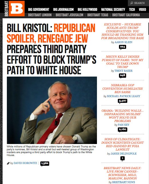 Breitbart's Anti-Semitic Attack on Bill Kristol