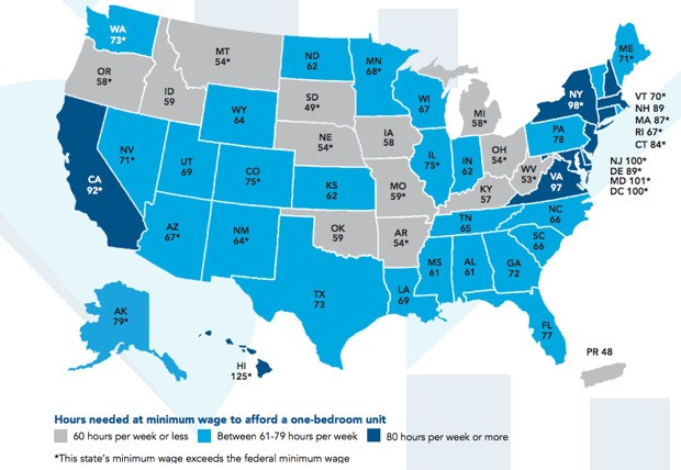 Mapping the Hourly Wage Needed to Rent a 2-Bedroom Apartment in Every U.S. State
