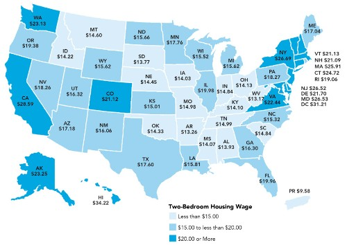 The Hourly Wage Needed to Rent a 2-Bedroom Apartment Is Rising